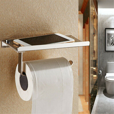 Chrome Wall Mounted Bathroom Toilet Paper Holder With Temp Phone Cigarette Shelf