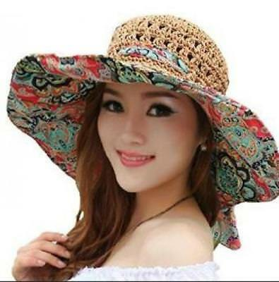 Beach Straw Hat Women's Foldable Floppy Sun Protection Visor Cap Wide Brim Coffe