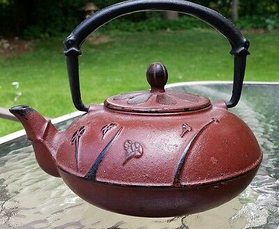 VINTAGE SIGNED JAPANESE or CHINESE CAST IRON TEA KETTLE TEAPOT SIGNED