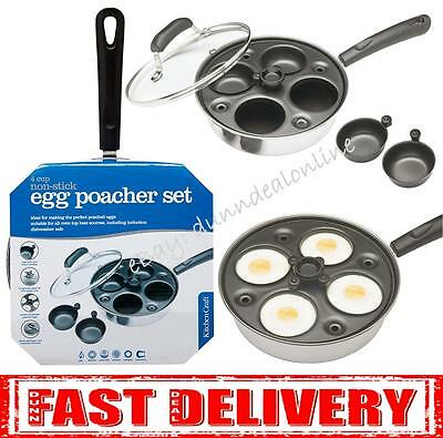 Kitchen Craft Induction Carbon Steel 4 Cup Hole Egg Poacher Pan & Cups Non Stick