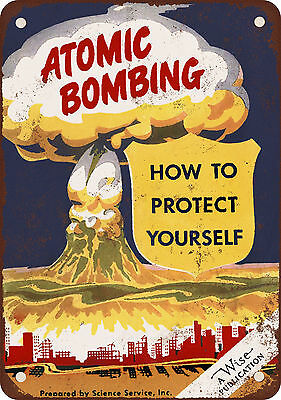 """7"""" x 10"""" Metal Sign - 1950 Protect Yourself From Atomic Bombing - Vintage Look R"""