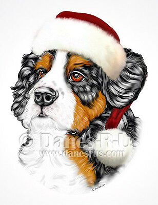 Bernese Mountain Dog Art Santa Pup Christmas Greeting Note Cards Set of 10