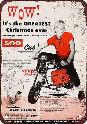 "7"" x 10"" Metal Sign - 1959 500 Club Mini-Bikes - Vintage Look Reproduction"
