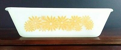 Vintage Glasbake Milkglass  1 1/2 Quart Yellow Daisies Loaf  Dish  #522