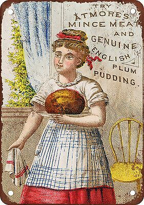 "7"" x 10"" Metal Sign - Atmore's Plum Pudding - Vintage Look Reproduction"
