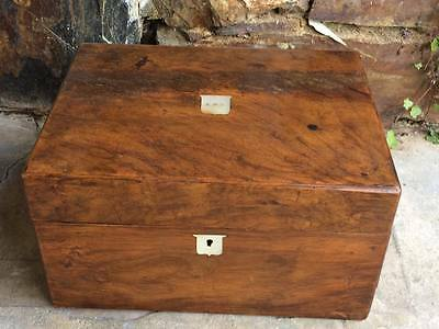 Georgian walnut medical box apothecary jar trunk with mother of pearl inlay