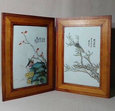 2 Fine Antique Chinese Famille Rose Porcelain Tiles W/ Mark with Bugs