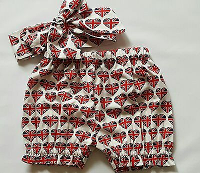 Beautiful Summer  Union Jack Baby's Bloomer and headwrap set girls clothes New