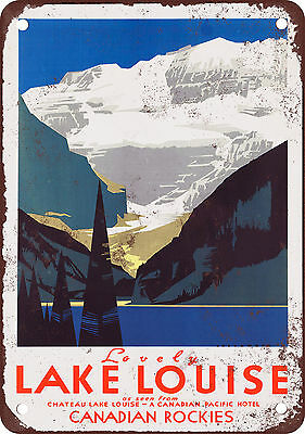"7"" x 10"" Metal Sign - Lake Louise Canadian Rockies - Vintage Look Reproduction"