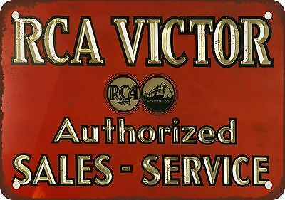 "7"" x 10"" Metal Sign - RCA Victor Sales & Service - Vintage Look Reproduction"