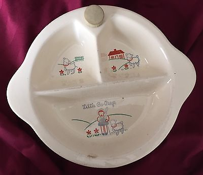 Child's Art Deco Antique Divided Compartment Ceramic Nursery Rhyme Warming Dish