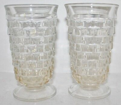 """VTG INDIANA WHITEHALL COLONY Footed Glasses CUBIST CUBE Iced Tea-Clear-12 oz- 6"""""""