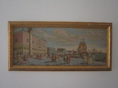 Exquisite Gold Framed Vintage Venice Scene Tapestry