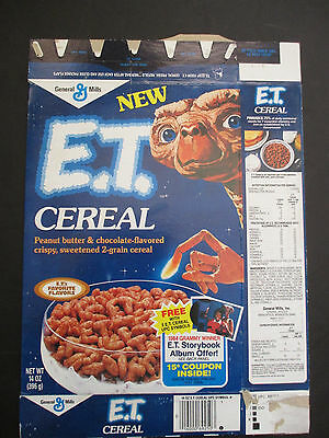 1984 General Mills E. T. Flattened Breakfast Cereal Box w Michael Jackson Offer