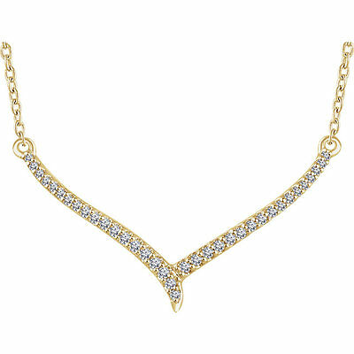 """Diamond 16-18"""" """"V"""" Necklace In 14K Yellow Gold (1/6 ct. tw.)"""