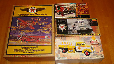 Gas & Oil Texaco / Shell 4 Diecast Vehicles, Truck, Tanker, Plane, Tugboat(#FFT5