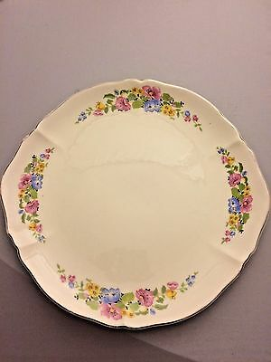 "Vintage W. S. George 11-3/8"" Floral Cake Plate Platter 149A Made in USA  Pretty!"