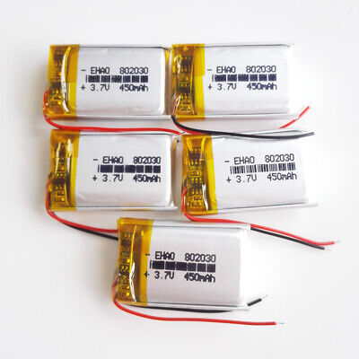 5 pcs 3.7V 400mAh Lipo Polymer Rechargeable Battery 802030 For Bluetooth GPS MP3