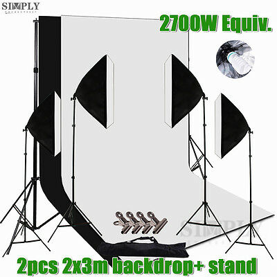 AU Studio Continuous Lighting Softbox Light Stand Backdrop Background Screen Kit