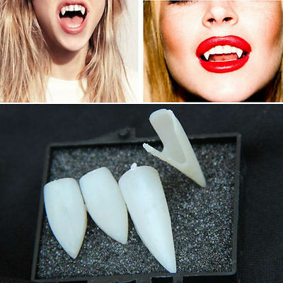 New 4PCS Dentures Vampire Zombie Teeth Ghost Fangs Halloween Costume Party ky