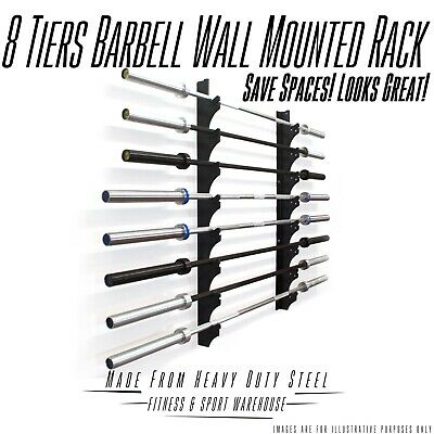 8 Row Barbell Wall Mount Rack Storage Holder Stand | Gym Weights Olympic Plates