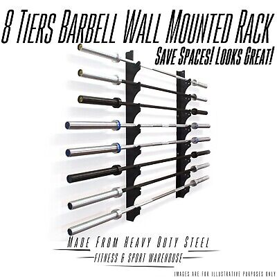 NEW 8 Rows Wall Mounted Barbell Storage Holder Fitness Gym Exercise Equipment
