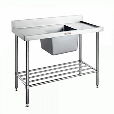 Simply Stainless Single Sink Centre Bowl w Pot Rail & Splashback 1800x600x900mmS