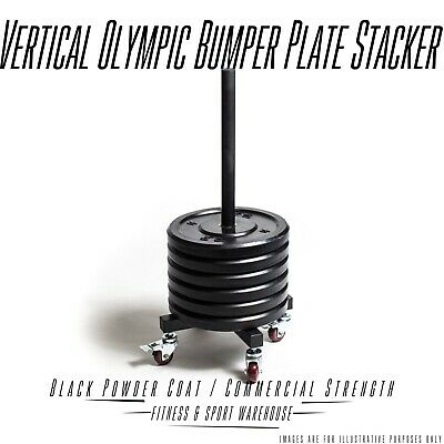NEW Vertical Olympic Bumper Plate Stacker with Wheels Fitness Storage Equipment