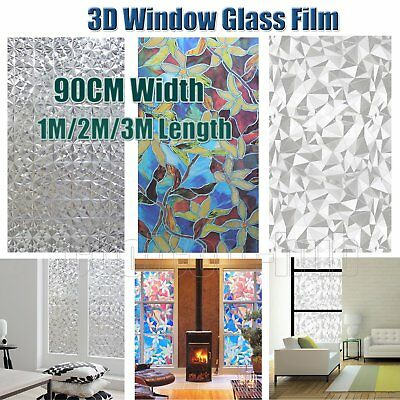 90CM 3D Static Glueless Reusable Removable Privacy Frosted Window Glass Film