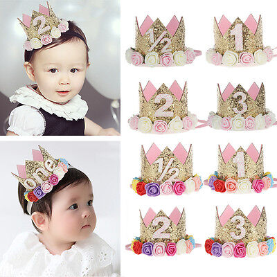 Lovely Baby Toddler Kids Crown Tiara Headband Hair Band Birthday Party Headwear