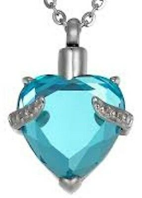 """Aqua blue crystal heart cremation ashes keepsake pendant with 16"""" 925 chain"""