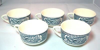 Currier & Ives Cups set of 5 Old Homestead Blue White Mugs