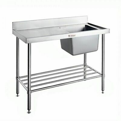 Single Sink Right Bowl wPot Rail & Splashback 1200x600x900mm Simply Stainless