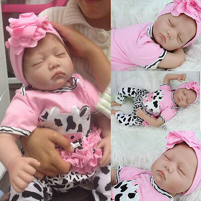 "22""Handmade Reborn Baby Toy Newborn Lifelike Silicone Vinyl Sleeping Girl Dolls"