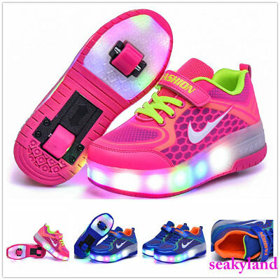 New LED Light Double Wheels Roller Skate  Children Shoes Youth Sneaker Kids Gift