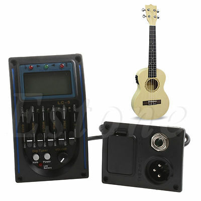 LC 5 Band Pickup Tuner Acoustic Electric Guitar Bass Preamplifier EQ Equalizer