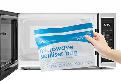Microwave Steriliser Bags 10pcs Large for Baby Bottles Soothers 20 Uses Per Bag