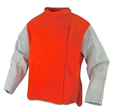 2XL Orange Proban High Vis Welding Jacket Chrome leather sleeves Bobthewelder AU