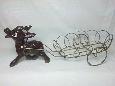 Vtg Redware Ceramic Donkey Mule Horse Carriage Figurine Metal Plant Stand Tray