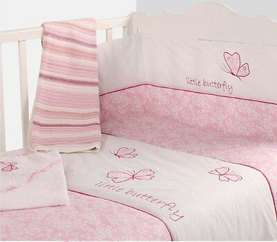 Nursery Baby Butterfly Pink Bale 2 Piece Set Quilt Bumper Cot / CotBed Baby Set