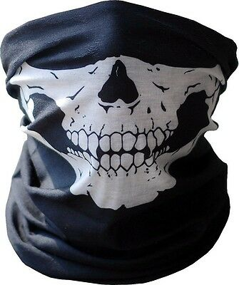 Skull Half Face Bandana Skeleton Ski Motorcycle Biker Paintball Mask Scarf B/W