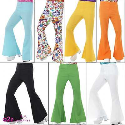 Mens 60s Hippy Hippie 70s Disco Flares Flared Trousers Adult Fancy Dress Costume
