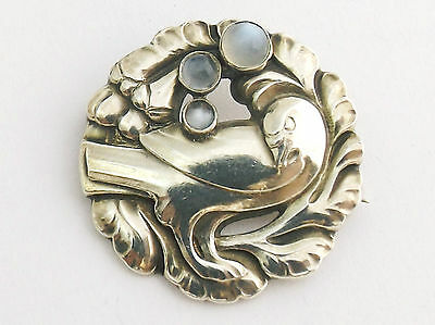 STERLING SILVER BROOCH by Georg Jensen 'DOVE' DESIGN  WITH MOONSTONES No 134