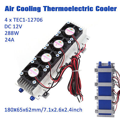 Quad-core Thermoelectric Peltier Air Radiator 4 x TEC1-12706 12V Cooling Device