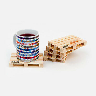 Palette It Set of 8 Wood Coasters Mini Wooden Pallet Drinking Hot Pad Gift Pack