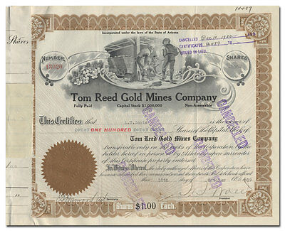 Tom Reed Gold Mines Company Stock Certificate (Arizona)