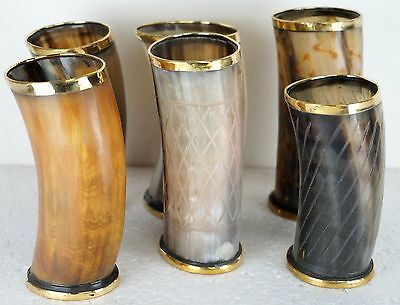 Set of 6 Christmas gift Viking Drinking Horn cups mugs for beer wine mead ale