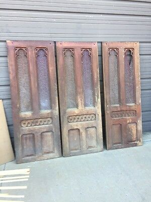 An 3 Available Price Separate Antique Oak Gothic Small Door 26 X 67.75
