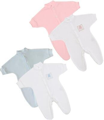 BabyPrem Premature Tiny Baby Clothes 2 x Sleepsuits Babygrows Preemie 1lb-7.5lb