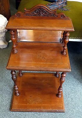 Antique  Mahogany Three Tier Shelf With Bevelled Mirror Perfect For Display